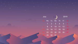 July 2019 Calendar Desktop Wallpaper