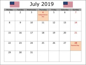 July 2019 Calendar USA