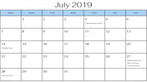 July 2019 Calendar USA Federal Holidays