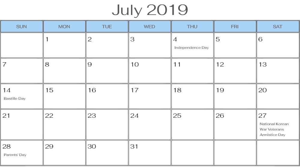 July 2019 Calendar USA Federal Holidays