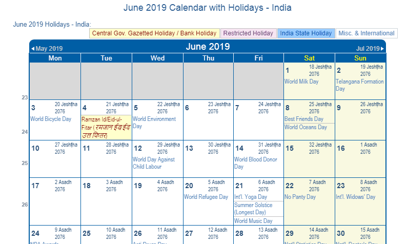July 2019 Calendar With Holidays India