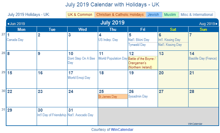 July 2019 Calendar with Holidays UK