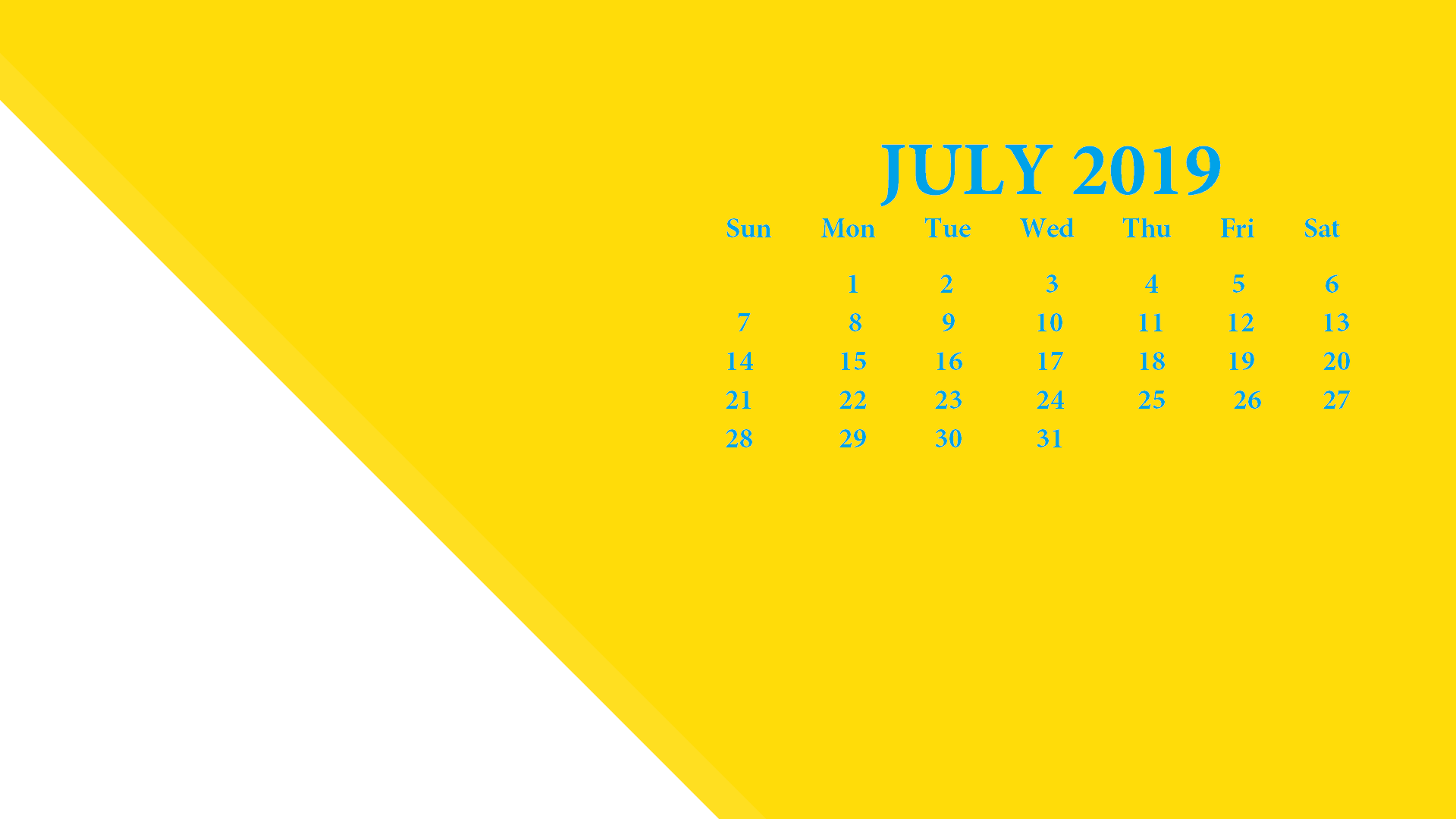 July 2019 Screensaver Background Calendar