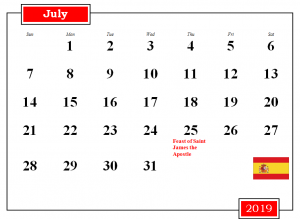 July 2019 Spain Holidays Calendar