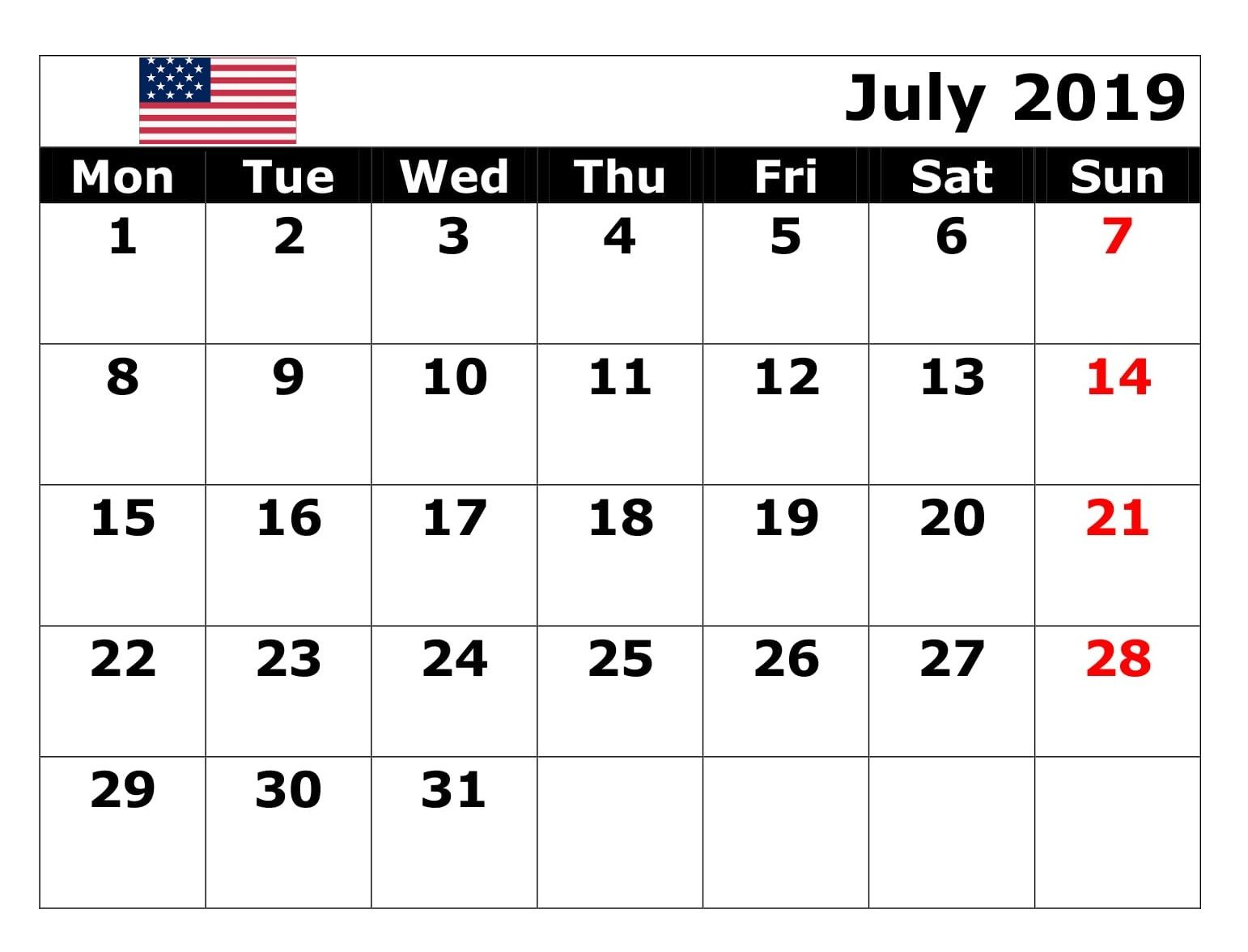July 2019 USA Bank Holidays Calendar