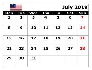 July 2019 USA Bank Holidays Calendar