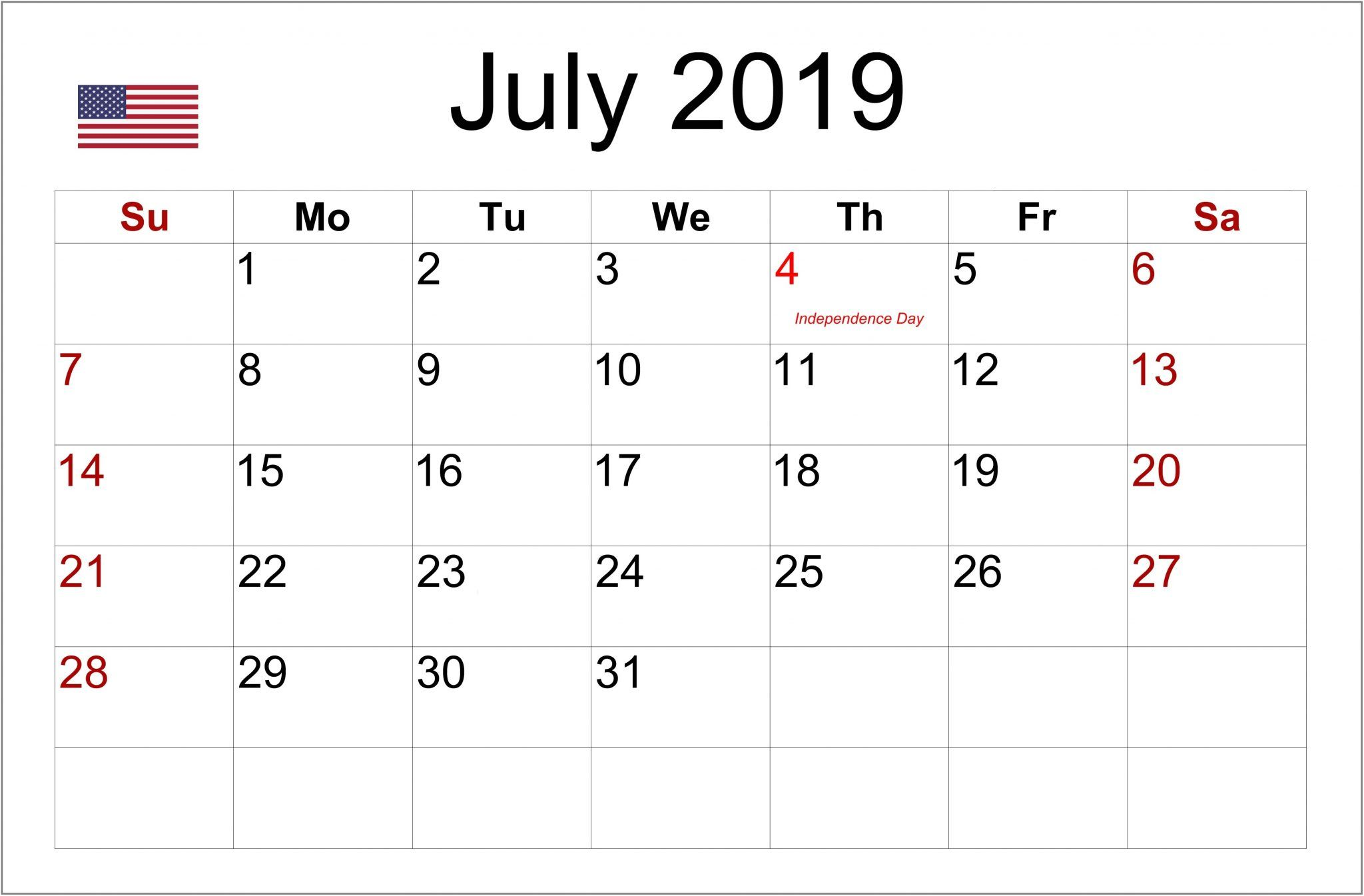 July 2019 USA Holidays Calendar