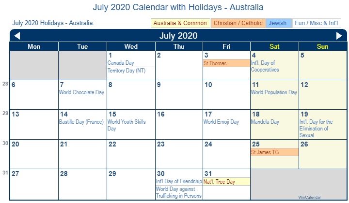 July 2020 Australia Holidays Calendar