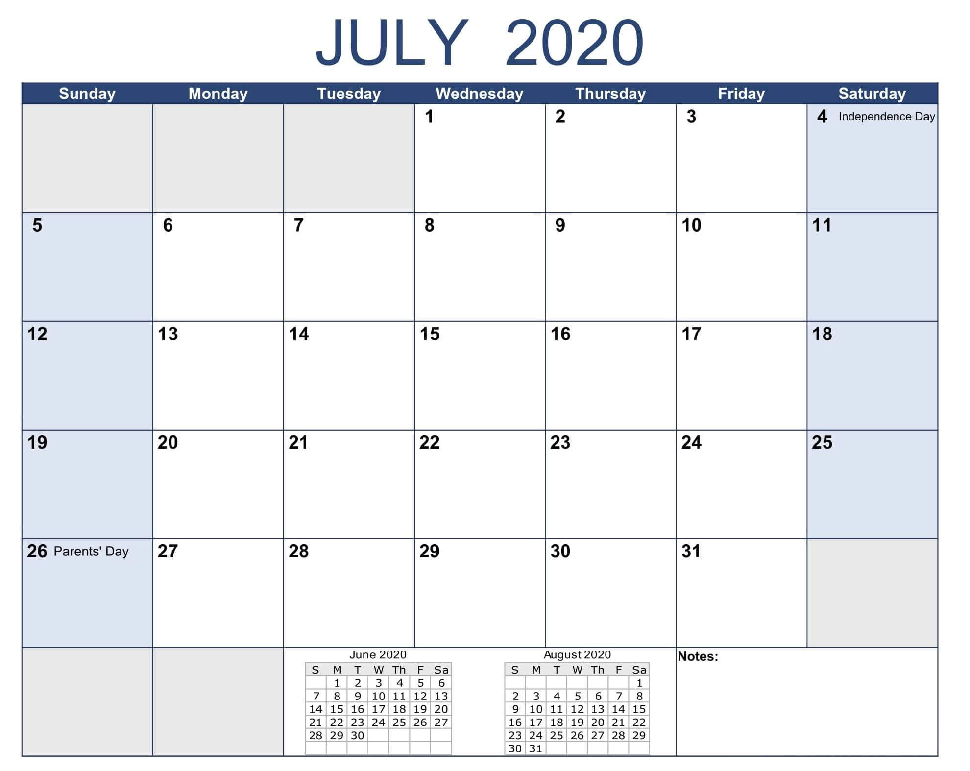July 2020 Bank Holidays Calendar