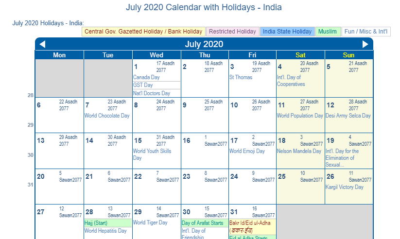 July 2020 Calendar with Holidays India