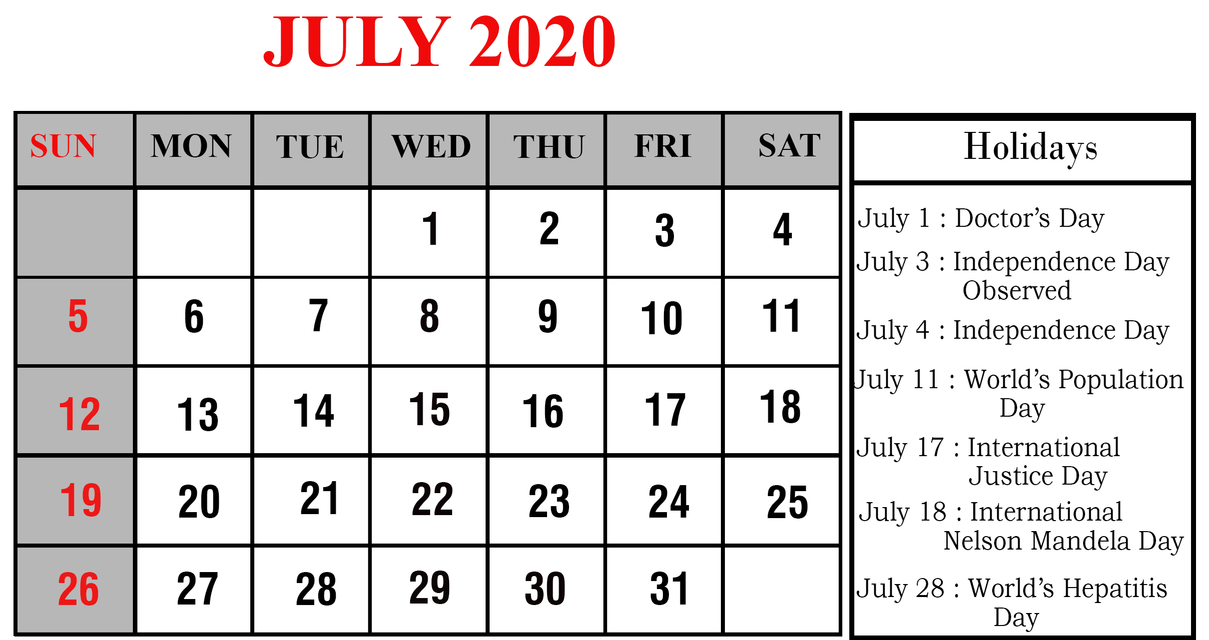 July 2020 Calendar with Holidays Printable