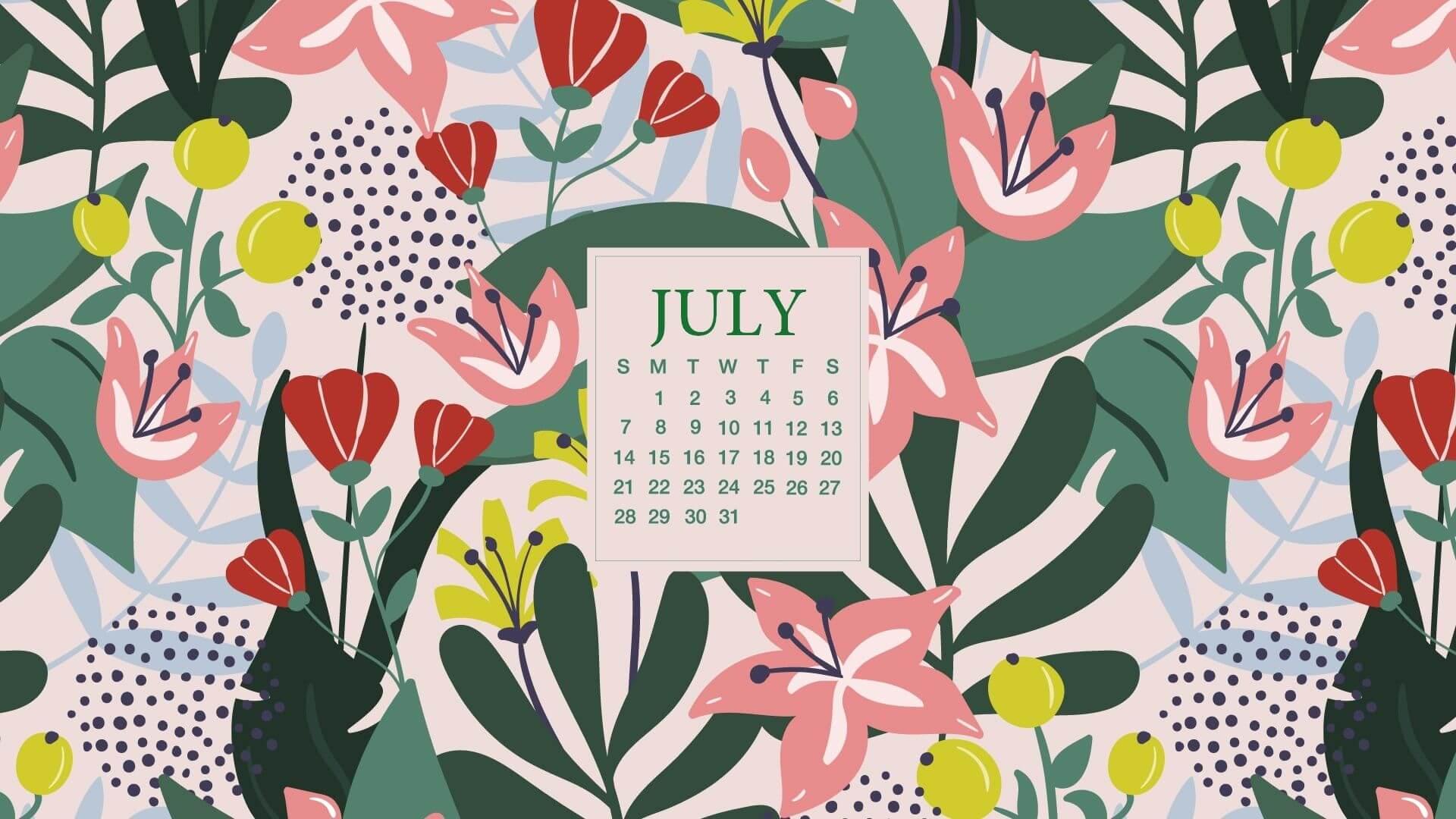 July 2020 Desktop Calendar Wallpaper