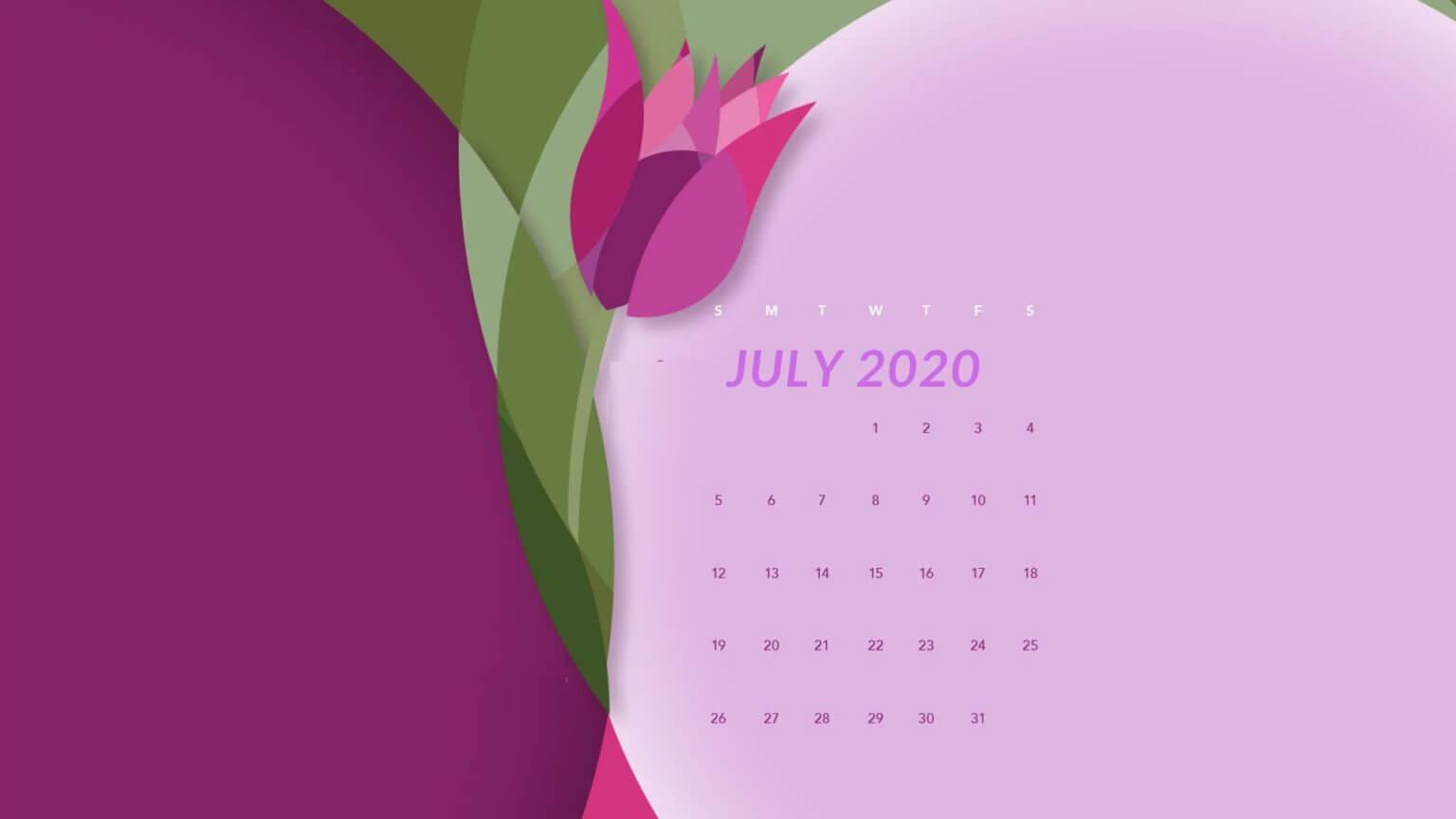July 2020 Flower Calendar Wallpaper