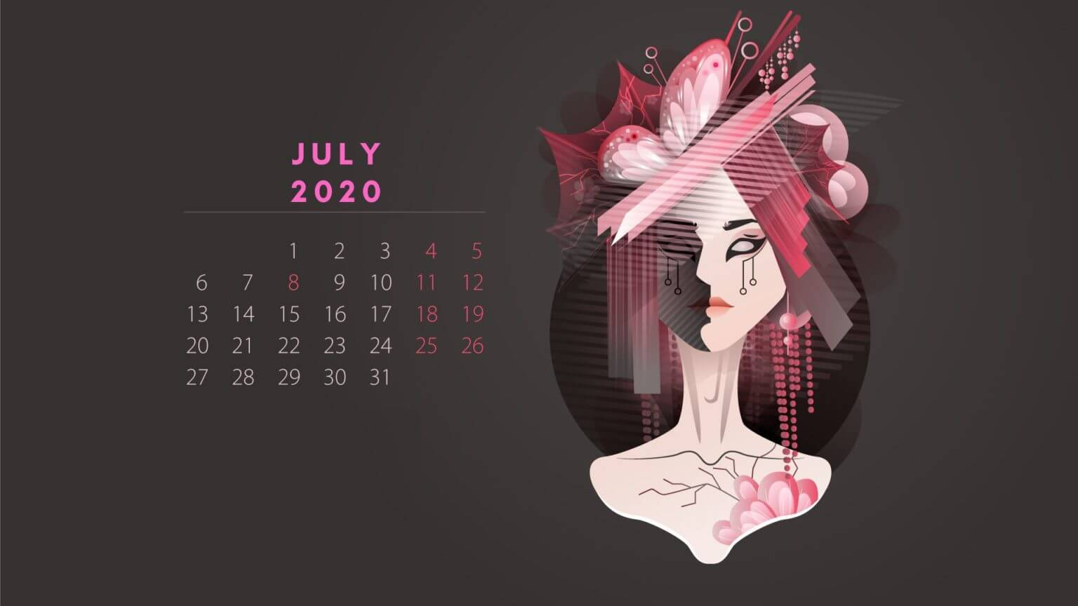 July 2020 HD Calendar Wallpaper