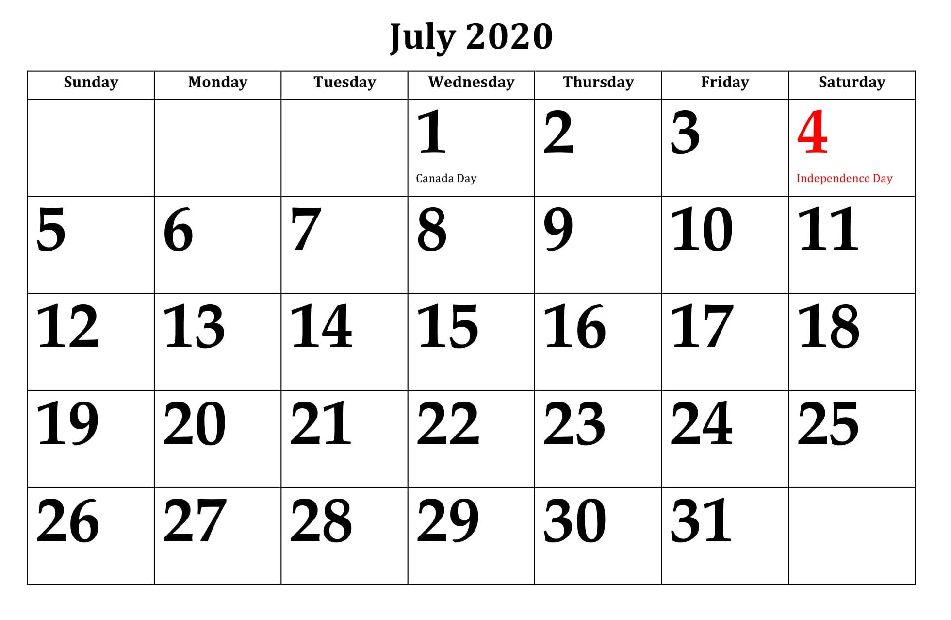 July 2020 Holidays Calendar Template