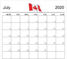 July 2020 Canada Holidays Calendar