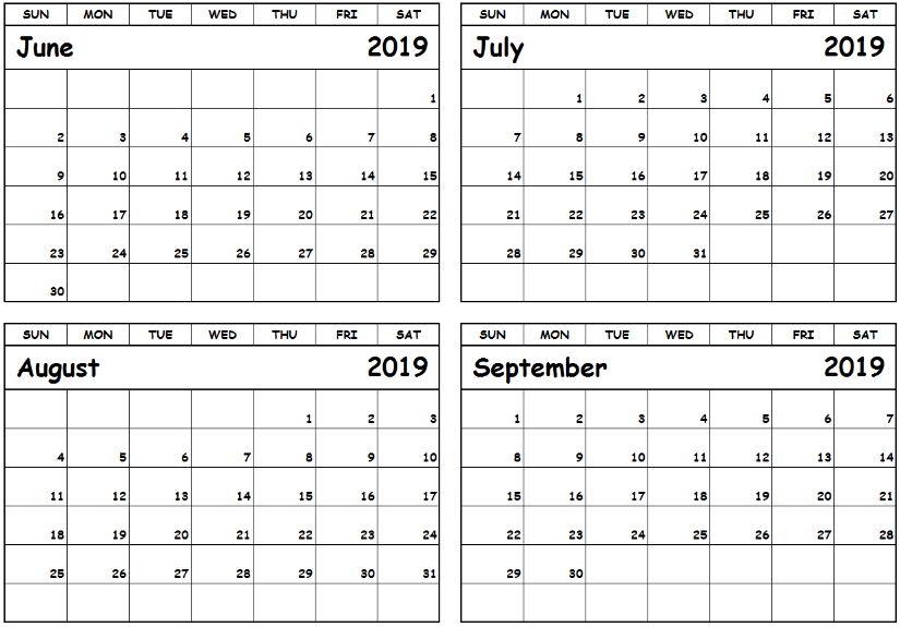 July August September 2019 Calendar PDF