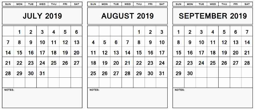 July August September 2019 Calendar Printable