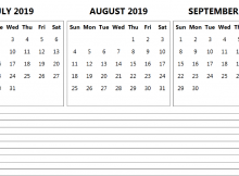 July August September 2019 Calendar with Notes