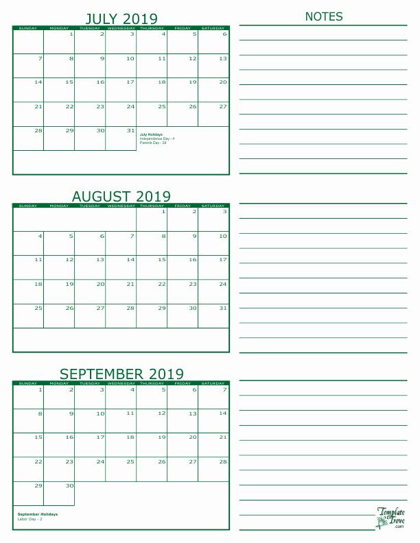 July August September Calendar 2019