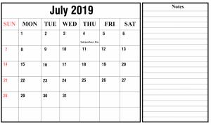 July Holidays Calendar 2019