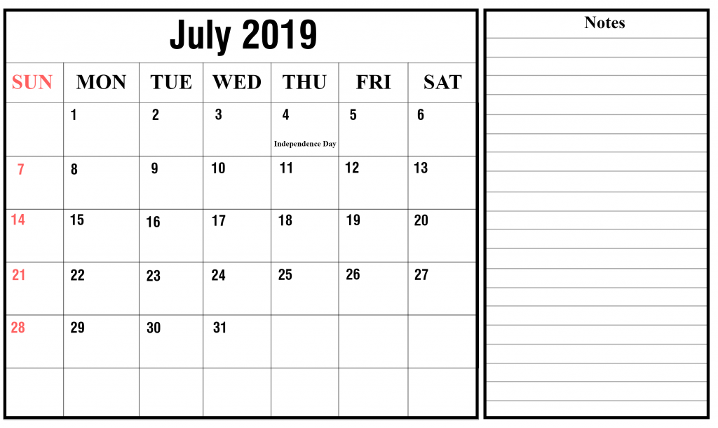 July Holidays Calendar 2019