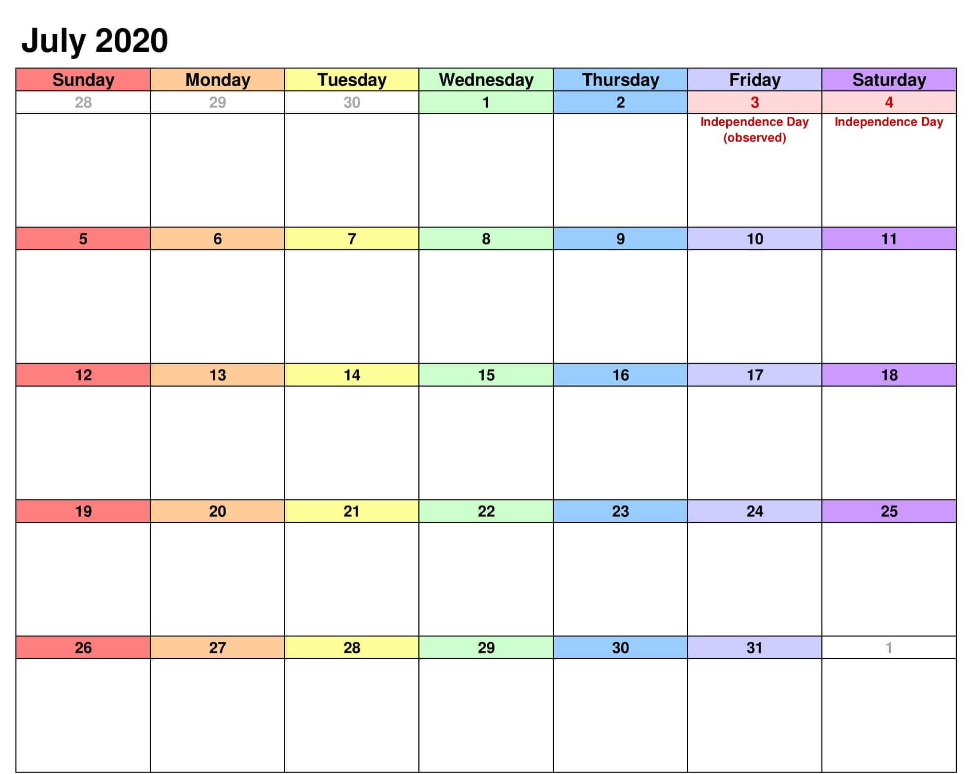 July Public Holidays Calendar 2020