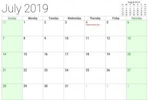 July USA Calendar 2019