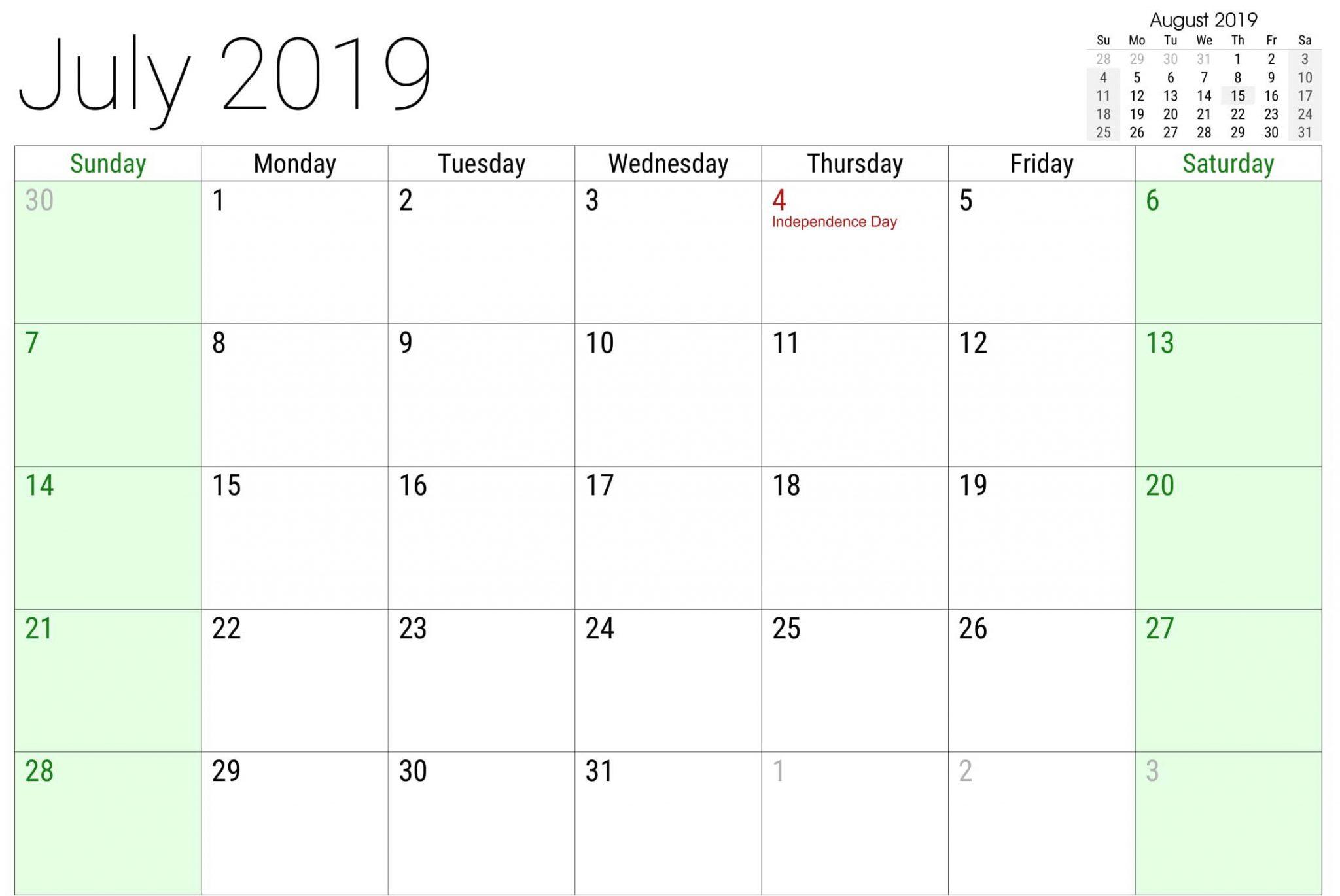 July 2019 USA Calendar