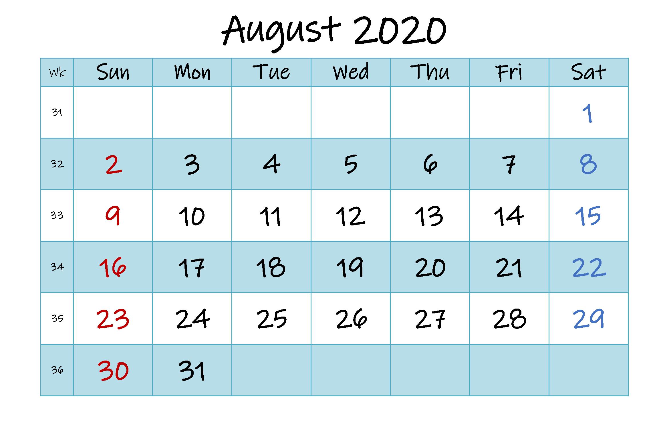 Monthly Calendar Template August 2020