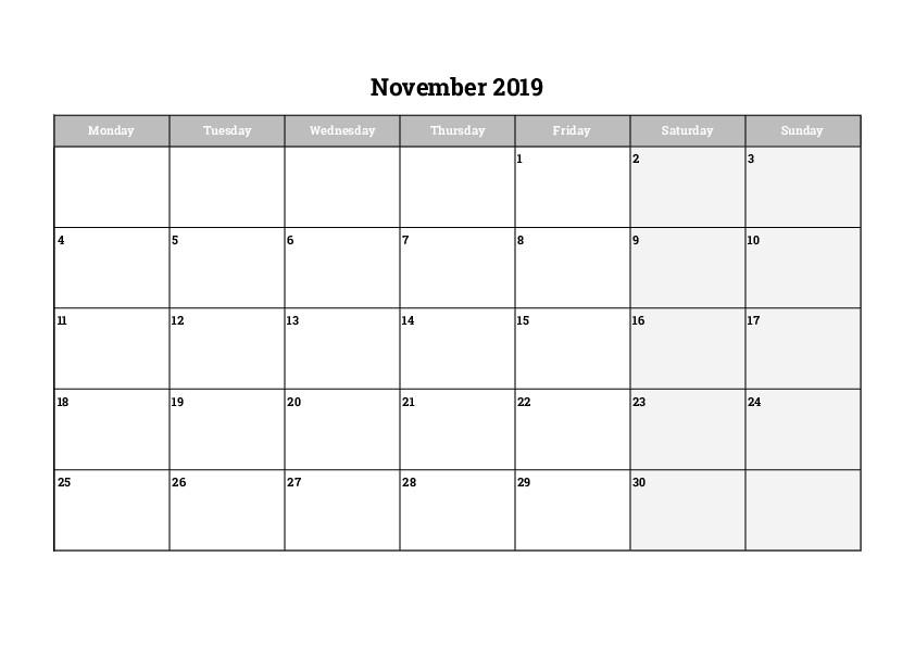 Monthly Printable Calendar November 2019