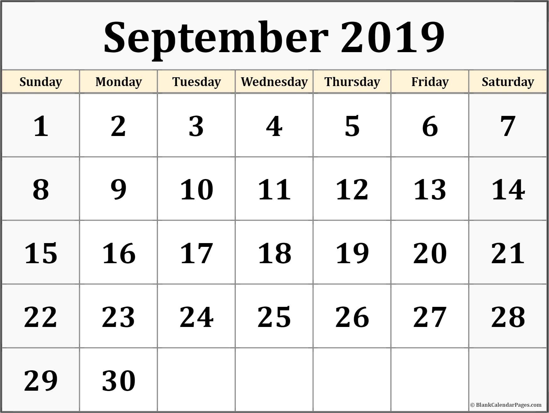 Monthly Printable Calendar September 2019