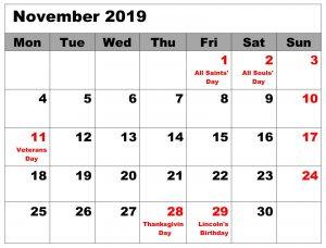 November 2019 Calendar with Holidays