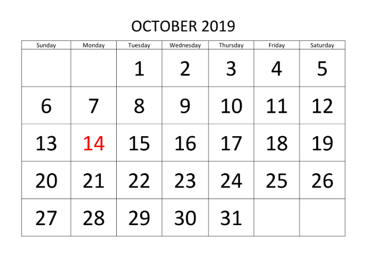 October 2019 Calendar Blank
