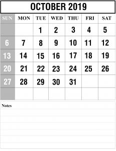 October 2019 Calendar Page