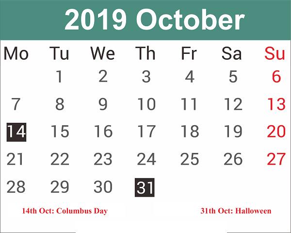 October 2019 Calendar USA