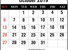 October 2019 Calendar with Holidays