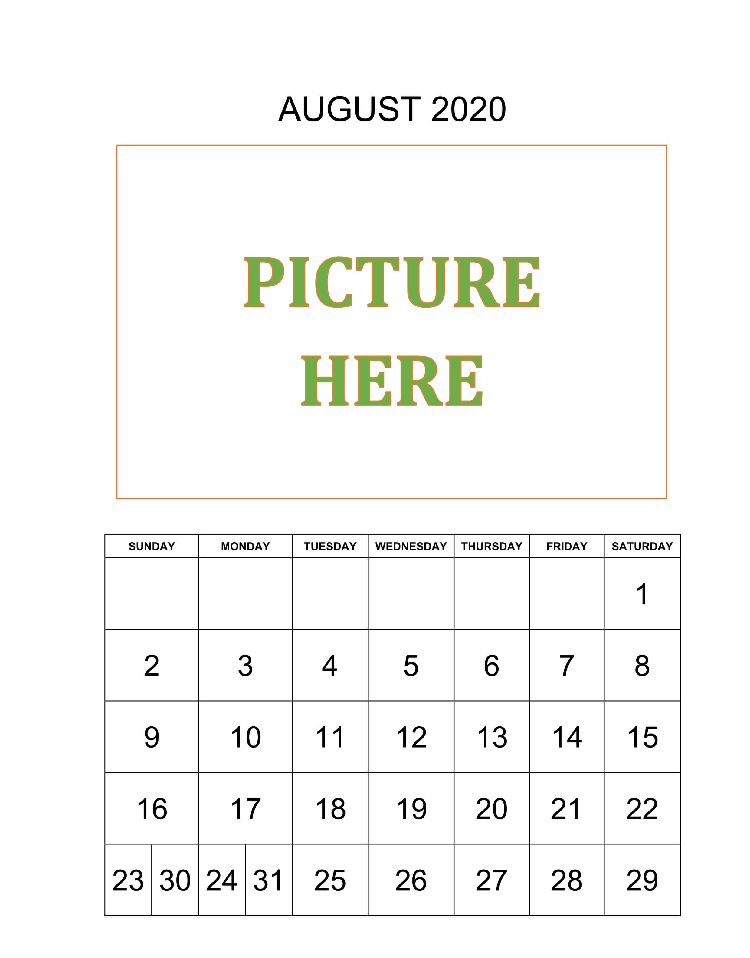 Personalized August 2020 Calendar Template