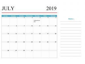 Printable Holidays Calendar July 2019