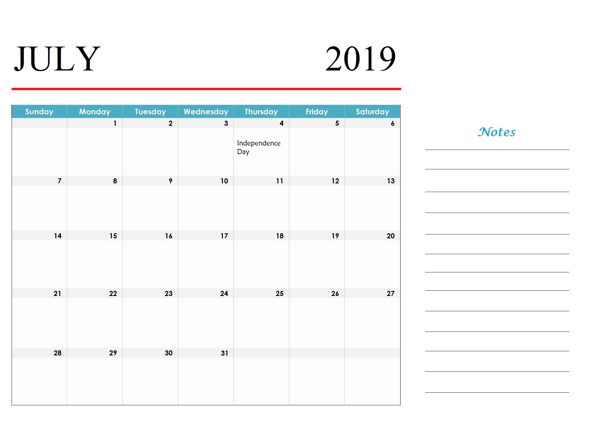 Printable Holidays Calendar July 2019