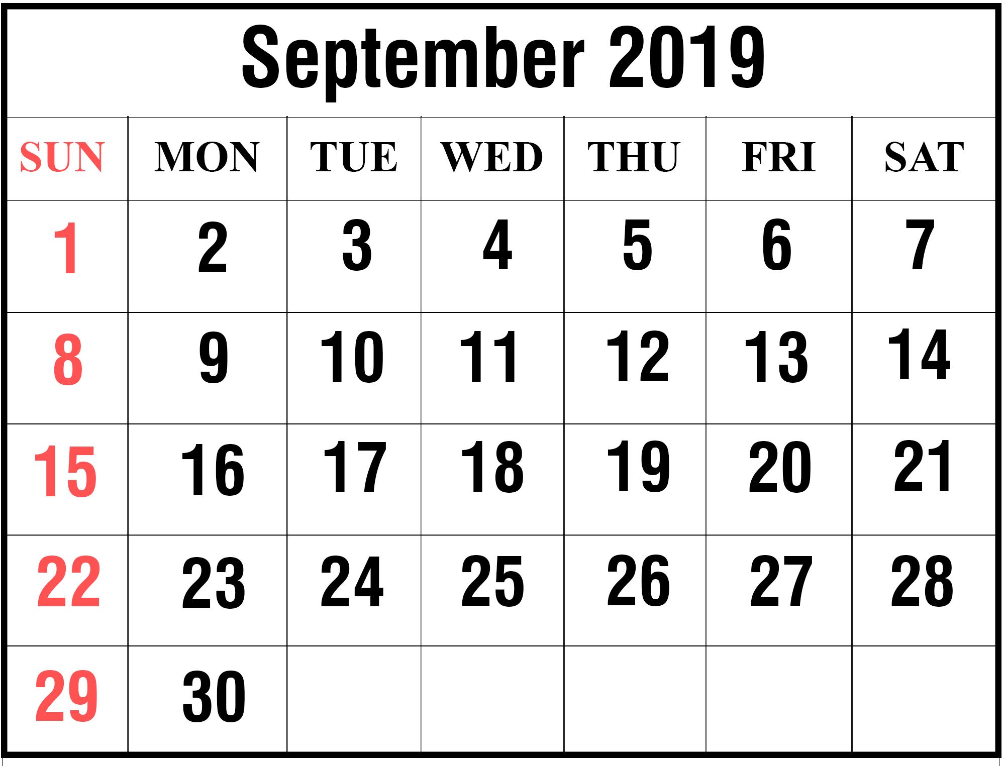 Printable Monthly Calendar September 2019