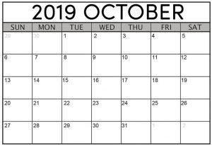 Printable October 2019 Calendar Template