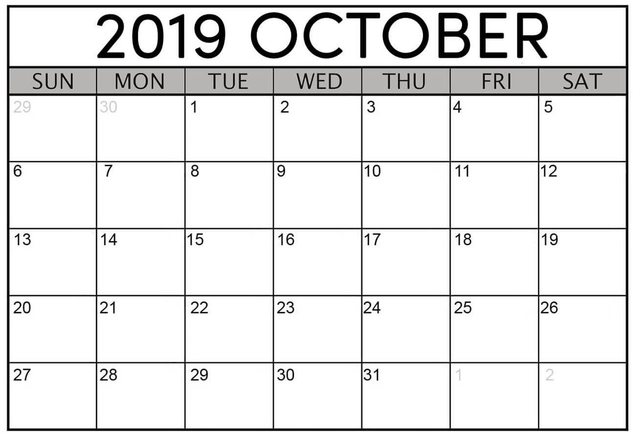 Printable October 2019 Calendar Template