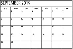 Printable September 2019 Calendar