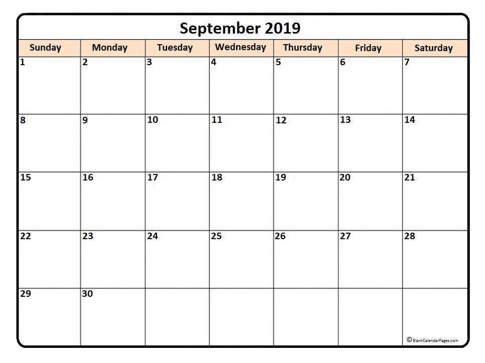 Printable September 2019 Calendar Blank Template