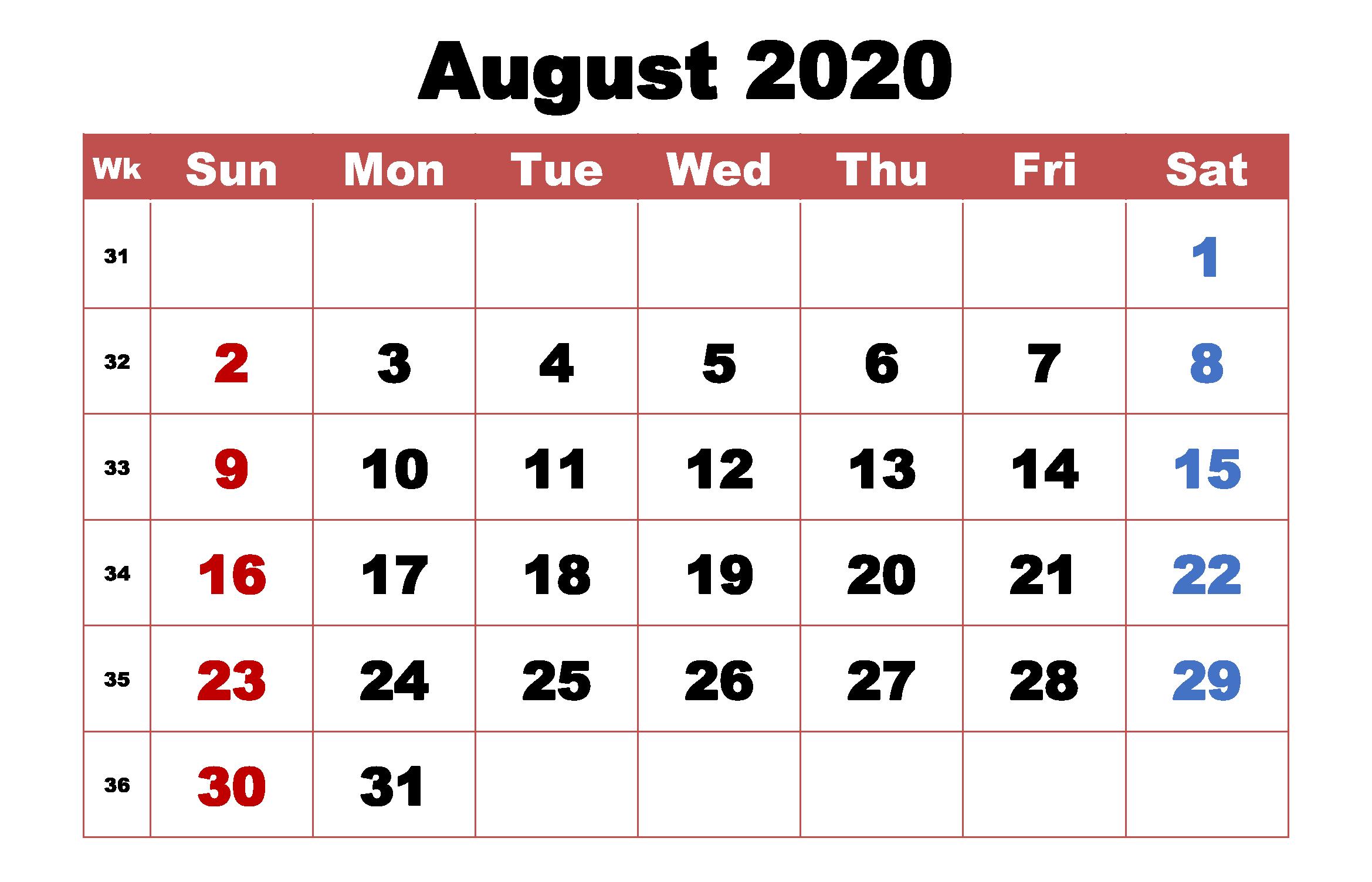 Printout August 2020 Calendar Template