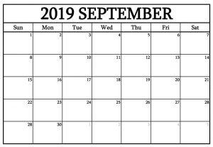September 2019 Calendar Printable Template