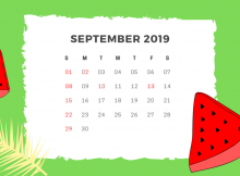 September 2019 Calendar Wallpaper