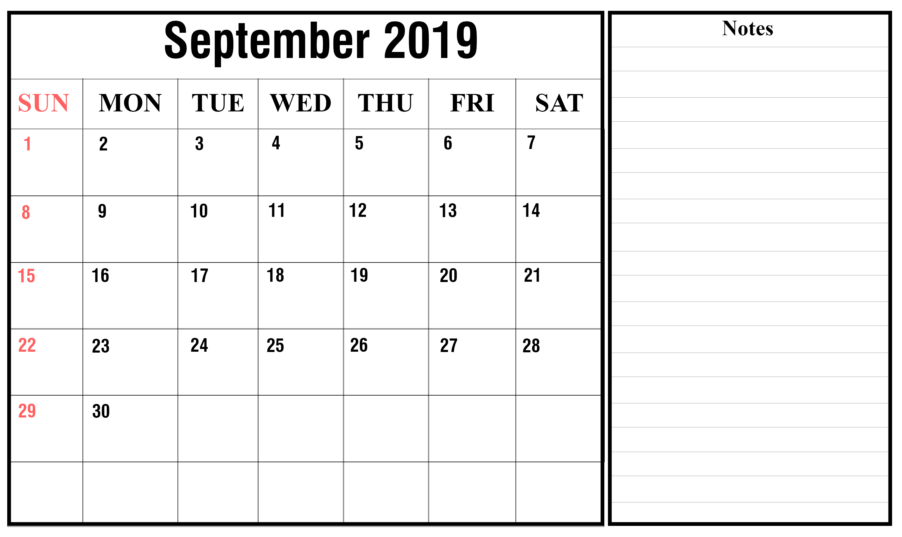 September 2019 Calendar with Notes