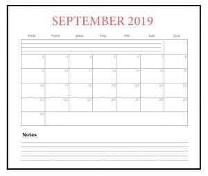 September 2019 Desk Calendar